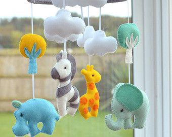 Welcome to FlossyTots  This beautiful Animal mobile is MADE TO ORDER  This colourful mobile consists of a Hippo, Elephant, Giraffe and Zebra in premium wool blend felt There is a cloud or tree above each animal and a coloured star above each of these, the hoop is decorated with grey felt.  CUSTOMISE If you prefer you can choose your own colours of felt to match your nursery or bedding, just convo me to discuss!  APPROXIMATE DIMENSIONS:-  Wooden Hoop 10 Elephant 4.5 x 4.5 Hippo 4.5 x 4.5…