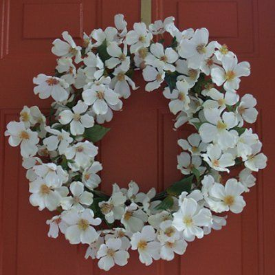 13 best silk flowers in glass vase images on pinterest silk white dogwood silk wreath 20 mightylinksfo Image collections