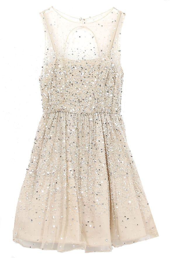 Alice + Olivia nude sparkles dress