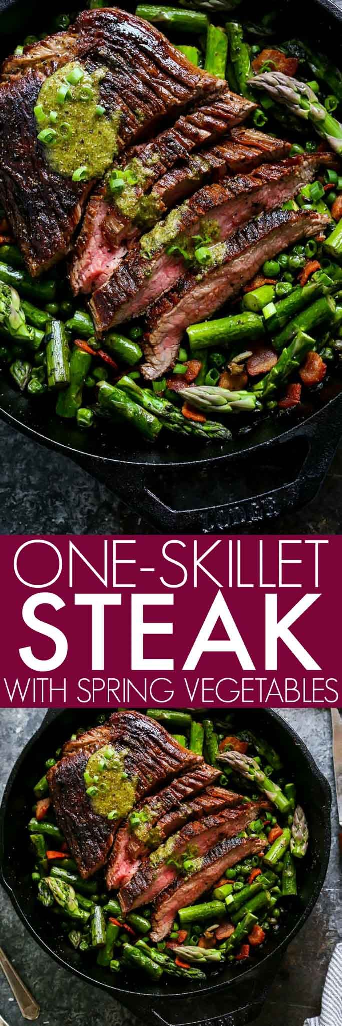 This One-Skillet Steak and Spring Vegetables with Mint Mustard Sauce is an elegant dinner that's easy enough for weekday entertaining. Steak, peas and asparagus cook up together in just one pan! AD platingsandpairings.com