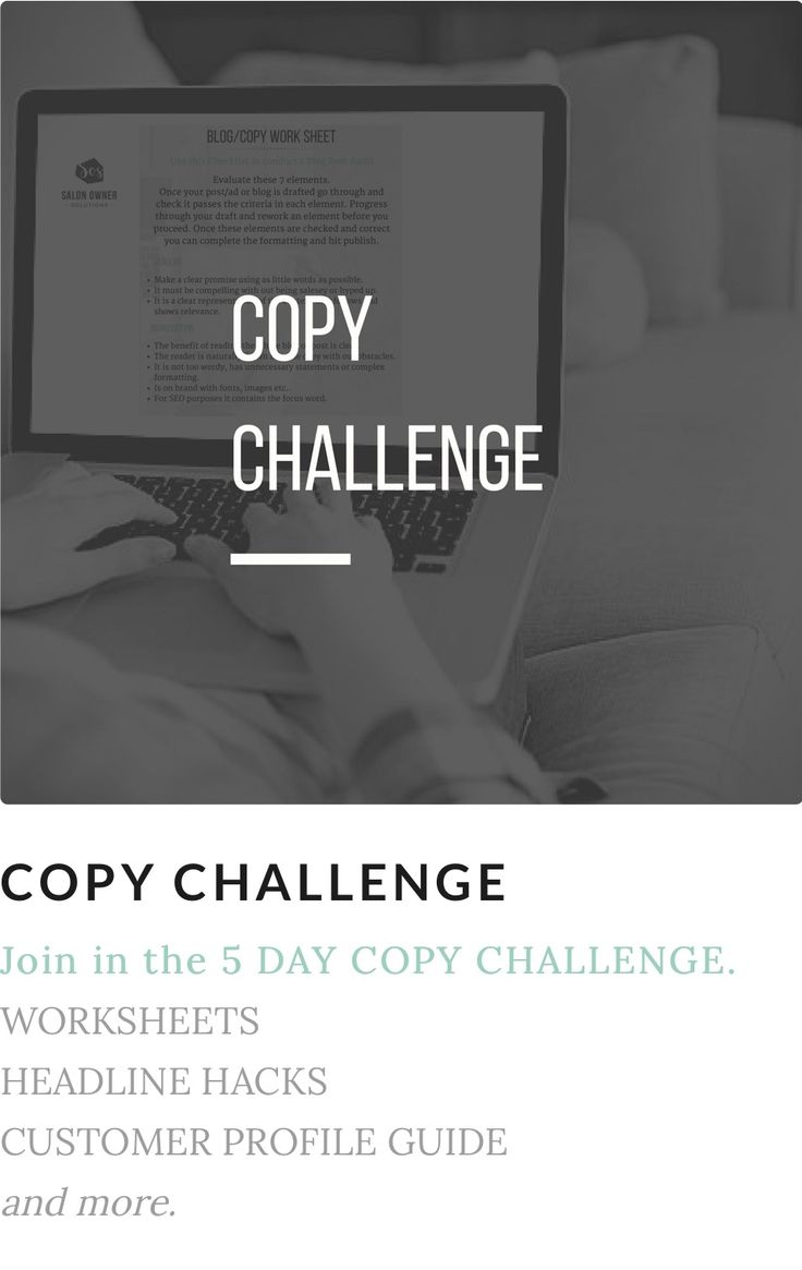 Get the 5 day copy challenge   Write ads, posts, blogs and emails that attract your ideal customers to your salon.