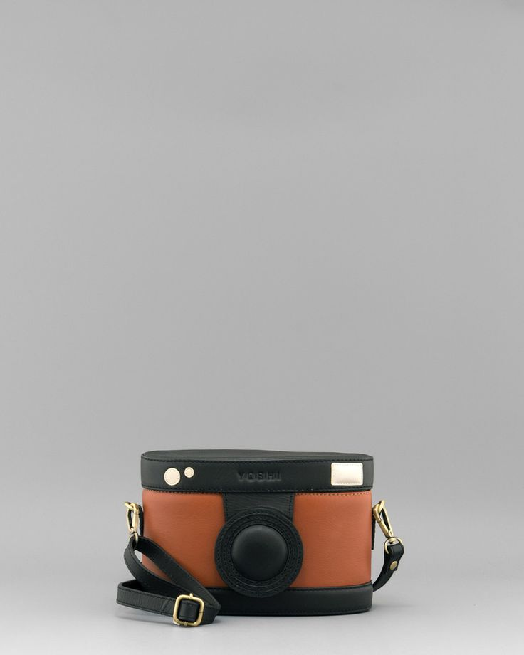 F-Stop Black Leather Camera Applique Cross Body Bag by Yoshi A