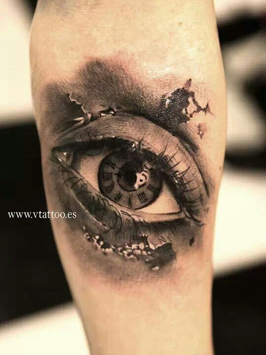 eye clock tattoo. Black Bedroom Furniture Sets. Home Design Ideas