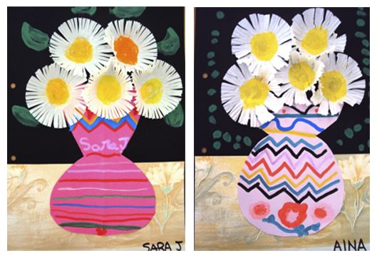 Plastic: TOPS FIRST. Spring flowers using  black paper, construction paper, wallpaper scraps, markers, cupcake liners, paint.