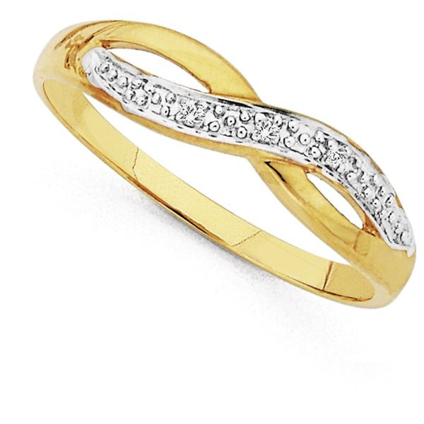 9ct Diamond Crossover Ring