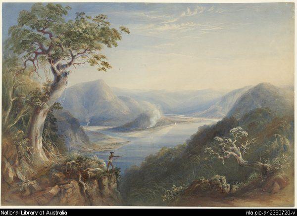 River Hawkesbury, near Wiseman's Ferry, N.S.W.     1838 Conrad Martens, 1801-1878.