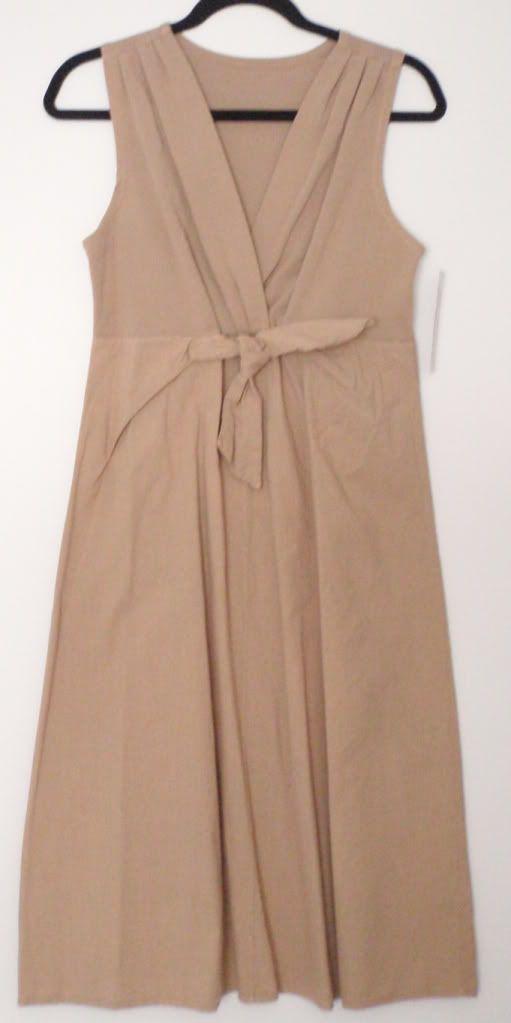 Luna Luz Classic Sleeveless Boho V Neck Front Tie European Dress Tan Navy New | eBay 159