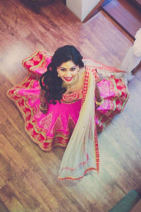 Stunning Bright Pink Embroidered #Lehenga. Photography: Arjun's Tryst with the Camera.