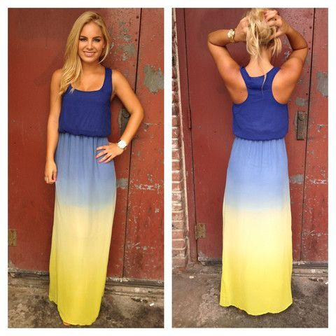 What is the blue and yellow dress