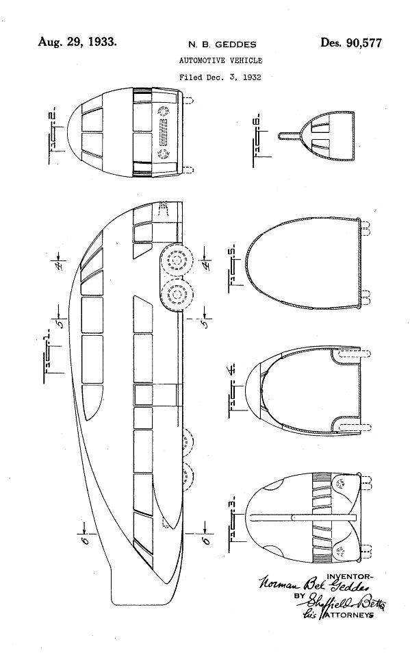 Norman Bel Geddes - Design Patent for Automotive Vehicle (1934 ...