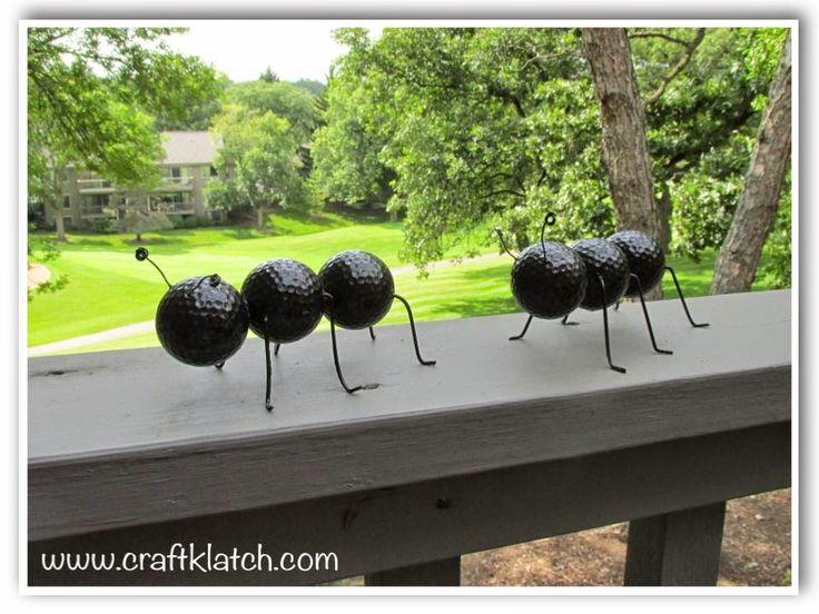 ant craft, decor, decorations, diy, do it yourself, golf ball craft, golf balls, outdoor craft, recycle, recycle craft, recycling, recycling craft, summer craft, outdoor, outdoor crafts, outdoor craft ideas, diy, handmade, homemade, caterpillar