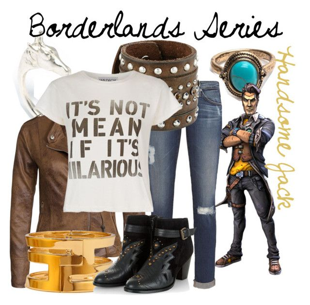 """""""Handsome Jack from the Borderlands Series (Genderbend)"""" by imanirine on Polyvore featuring LeiVanKash, VILA, AG Adriano Goldschmied, M&F Western, Forever 21, Wildfox, women's clothing, women, female and woman"""