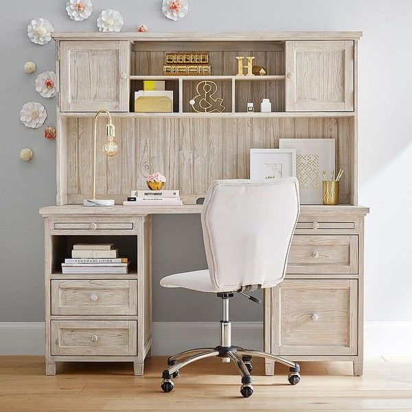 PB Teen Beadboard Smart Desk Large Hutch, Dark Espresso at Pottery... ($549) ❤ liked on Polyvore featuring home, furniture, brown, grain wood furniture, colored distressed furniture, pbteen furniture, colored furniture and weathered furniture