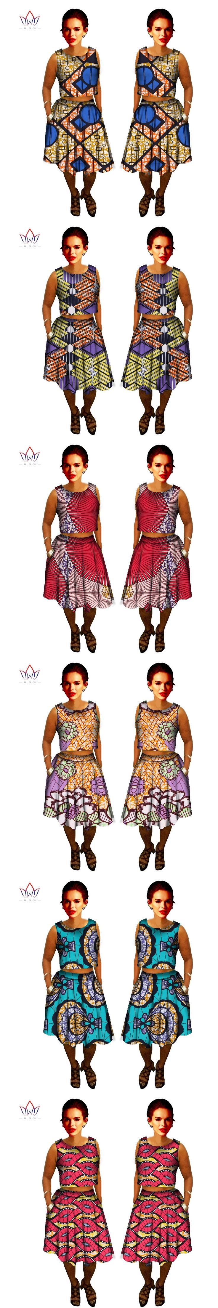 2 Piece Set Women African Clothing Bazin Wax African Print Skirt Plus Size African Clothing Crop Top and Skirt Dashiki BRW Y328
