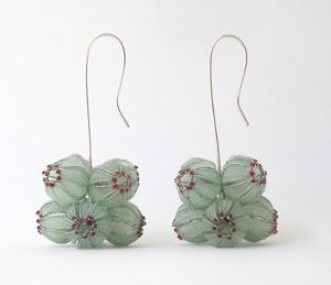 Earrings made of threads from silver, high-grade steel, and nylon ~ by Dorit Schubert   http://www.dorit-schubert.de/