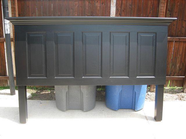 5 panel old door headboard painted satin onyx black by Vintage Headboards | Flickr - Photo Sharing!