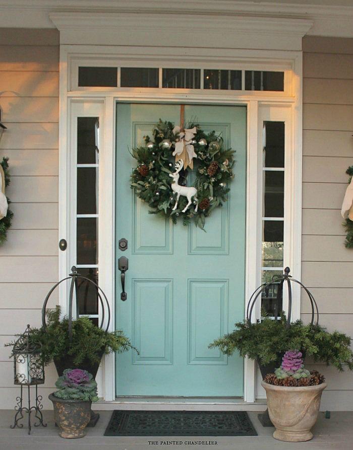 Dark Green Front Door Curb Appeal