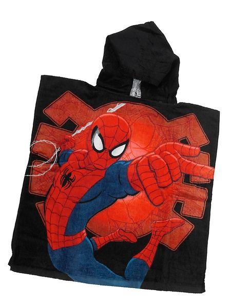 Spider-Man-huppupyyhe Hämähäkkimies on hypännyt koristamaan tätä räväkkää huppupyyhettä. Koko 60 x 120 cm. 100 % puuvillaa.