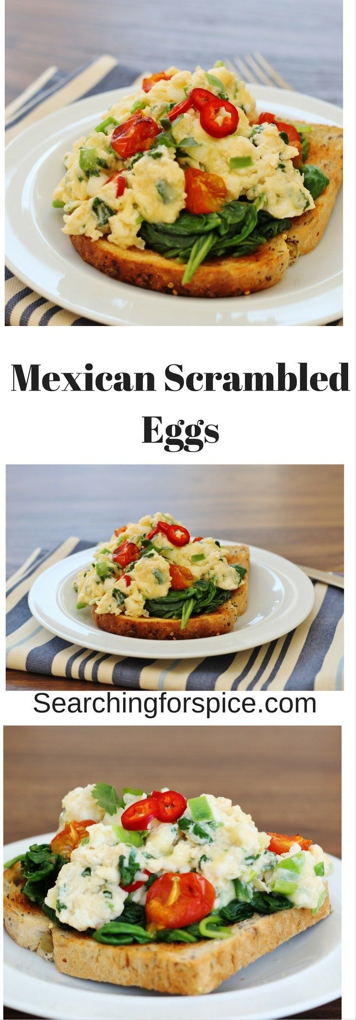 Mexican Scrambled Eggs.  A healthy breakfast of scrambled eggs, tomatoes and chilli peppers on a bed of spinach on toast