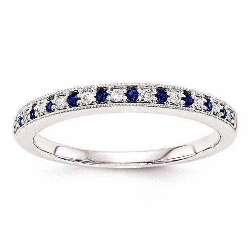14k White Gold W/ Blue Sapphire & Diamond Wedding Band