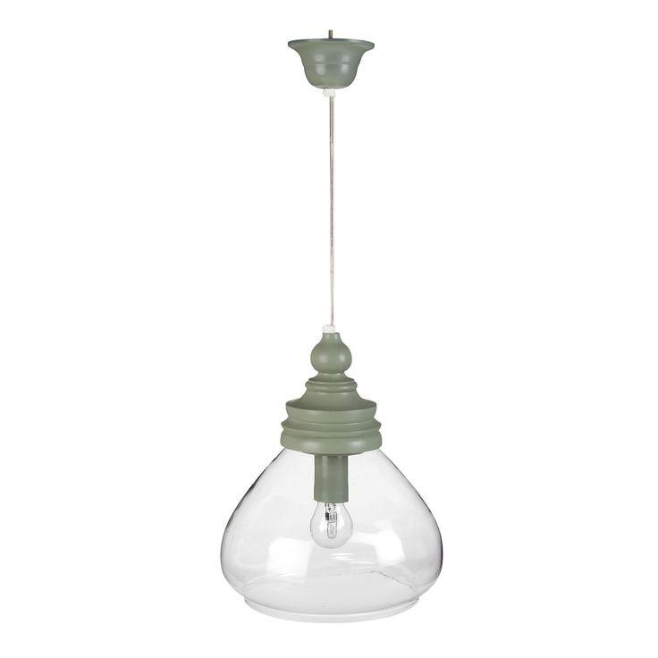 Suspension 1 lumière BOIS/VERRE D28cm Céladon - Tsahuni - Les suspensions et lustres - Luminaires - Salon et salle à manger - Décoration d'intérieur - Alinéa