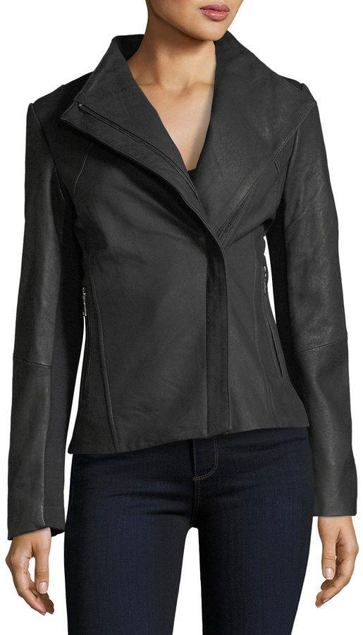 T Tahari Kelly Asymmetric-Zip Peplum Leather Jacket