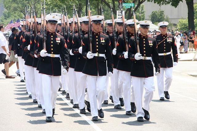 national memorial day parade. marines honor guard.