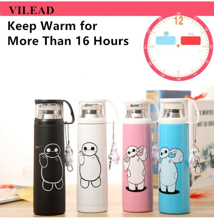 VILEAD Big Hero Stainless Steel Handgrip Thermos Mug Garrafa Termica Belly Cup Termos Vacuum Flasks with keychain Water Bottle