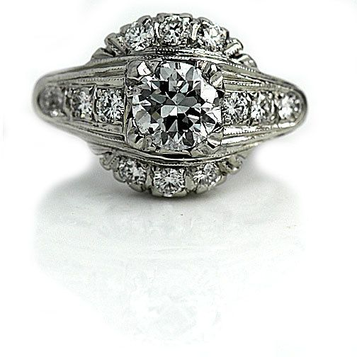 antiguo anillo de compromiso de 1940 1.65ctw antiguo anillo