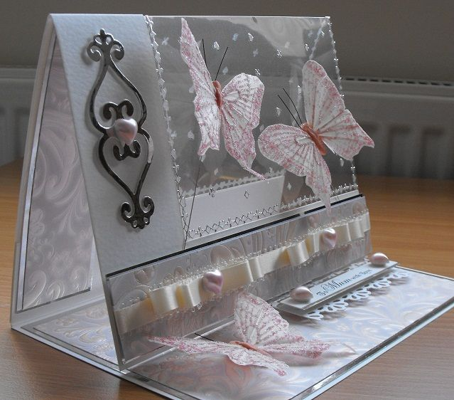 gorgeous handmade card ... easel style ... acetate panel - soft and shimmery look ...