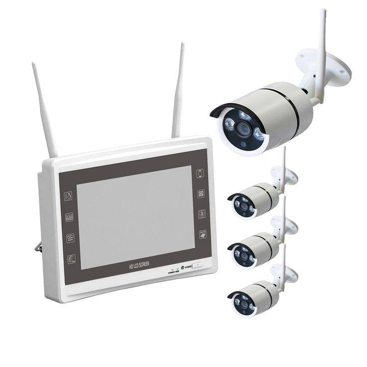 4CH 11 Inch LCD Screen 720P Wireless Surveillance  ip camera NVR System cctv kit 30M IR  Wifi IP Camera System HDD optional