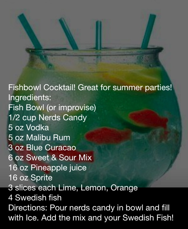 fish bowl party punch adult drinks pinterest bowls