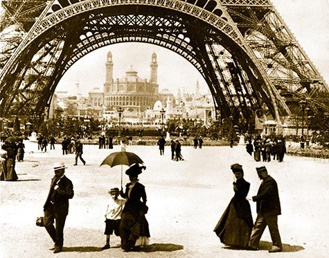 Looking through Eiffel Tower to the Trocadero and Colonial Section, Paris Exposition Universelle 1900.