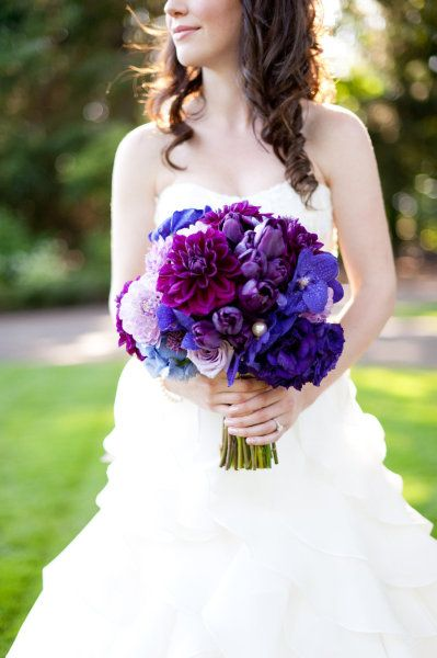 Love the purple and blue bouquet! From #StyleMePretty, photo by Erich McVey Photography