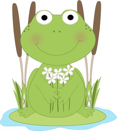Frog with flowers in a pond