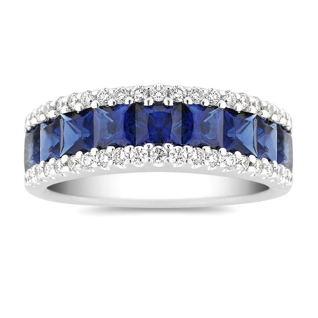 Princess Cut Blue Sapphire & Diamonds Ring