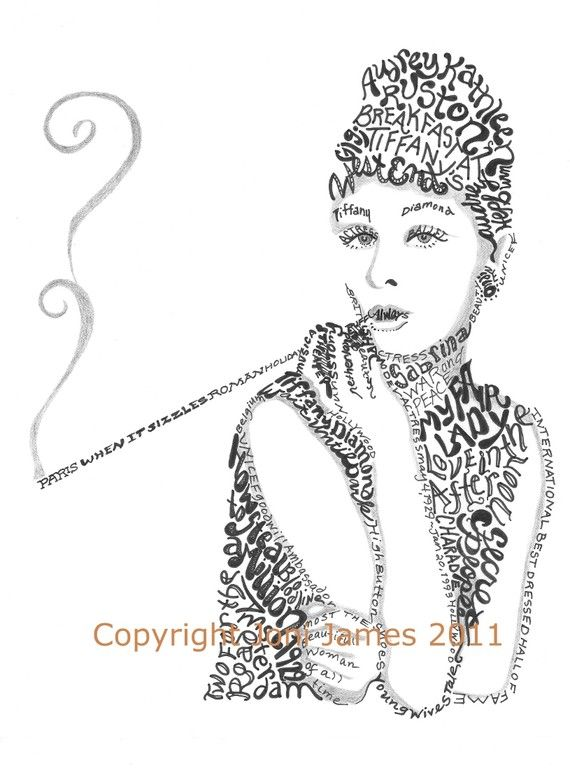 Audrey Hepburn Typography Drawing Word Art, Breakfast at Tiffany's Calligram or Calligraphy Illustration,  Audrey Hepburn Portrait