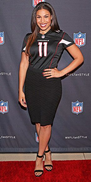 Last Night's Look: Love It or Leave It? | JORDIN SPARKS | Female football fans, rejoice! Jordin models the new class of NFL Apparel, pairing her Arizona Cardinals jersey (She's from Phoenix) with a pencil skirt and sandals at the NFL Hall of Fashion event in N.Y.C.