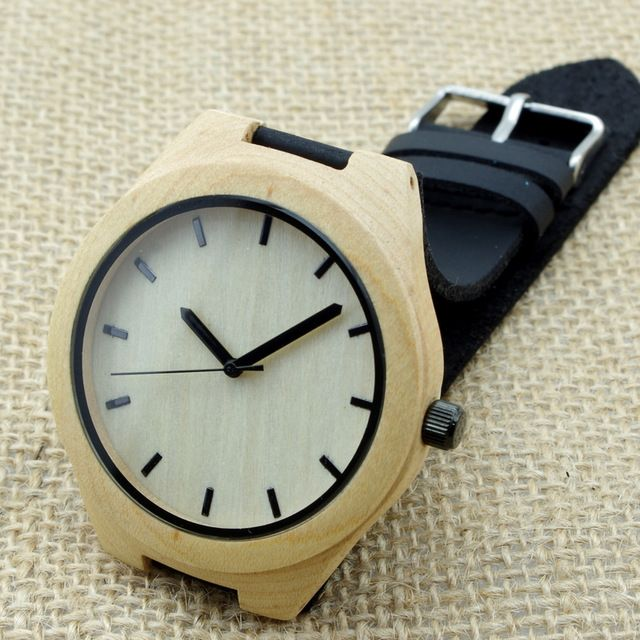 White Maple Wooden Watches with Genuine Leather Band Luxury Wood Watches Japan Quartz Movement 2035 as Gifts for Friends