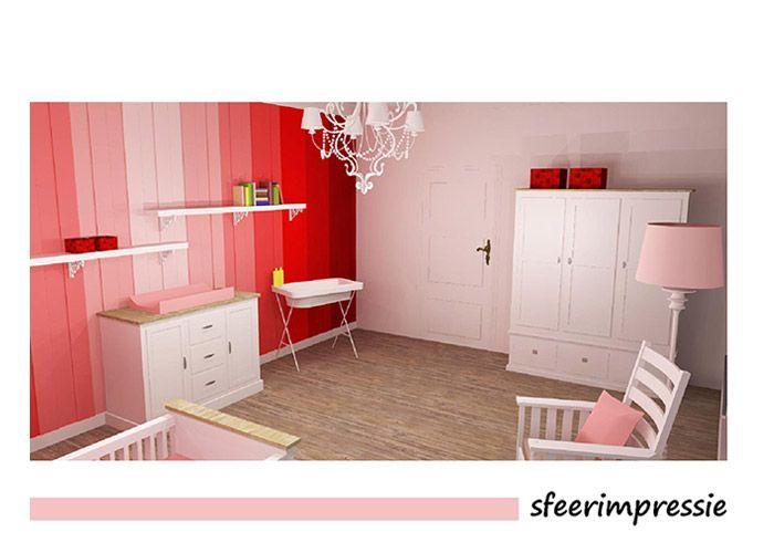 Project Babykamer Regenboog Rood Sfeerimpressie - Stijl 3D