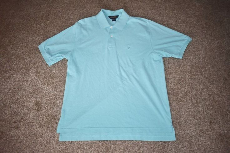 Brooks Brothers Mens S/ S Blue Polo Shirt W/ Blue Logo Large L #BrooksBrothers #PoloRugby