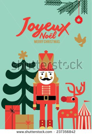 Christmas elements, design poster and illustrations. Joyeux Noel means merry christmas in french  - stock vector