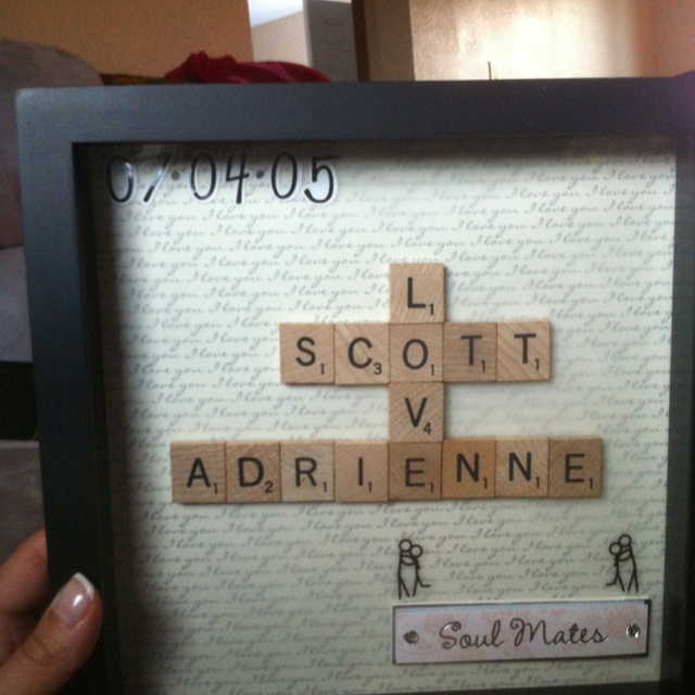 Scrabble shadow box for our anniversary :)
