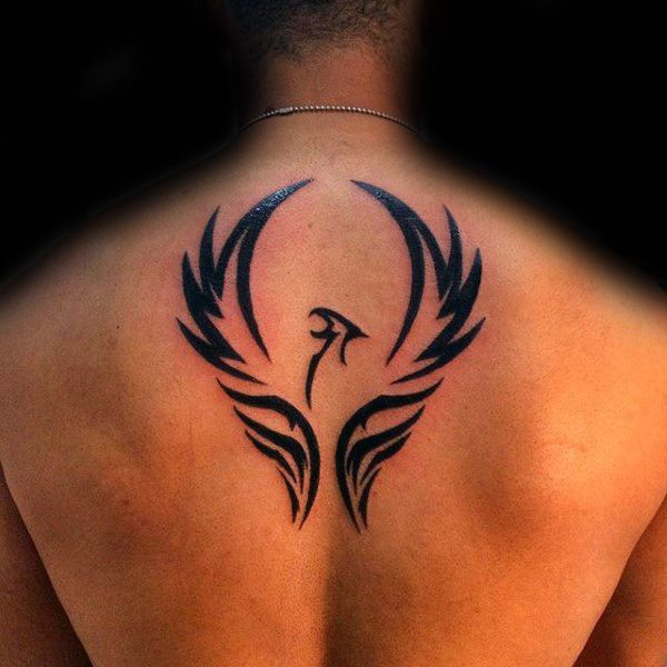 Mens Upper Back Phoenix Wings Tattoo Design