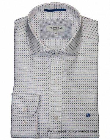 0ef7c29d4c Pertegaz camisa vestir blanca con pequeño motivo azul y topito rojo. Camisa  manga larga