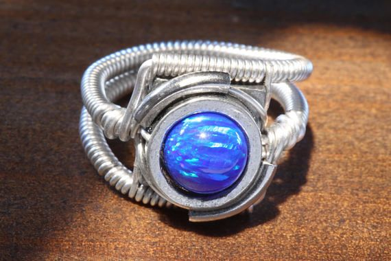 Steampunk Jewelry  Ring  Blue LAB created OPAL