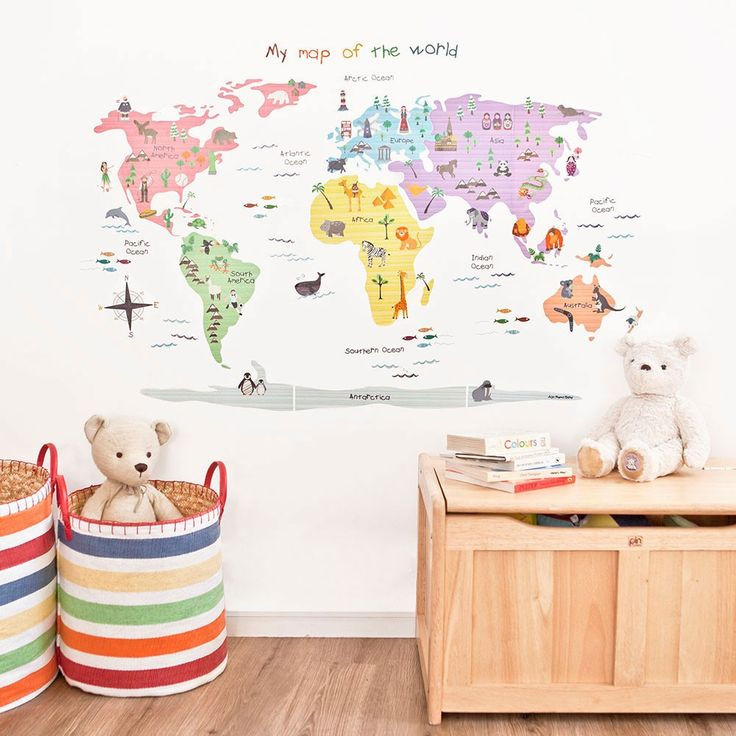 The Map Of World Wall Stickers Make A Stunning Impact In Any Bedroom Nursery Or Playroom And Will Give Little Ones Plenty To Chat About