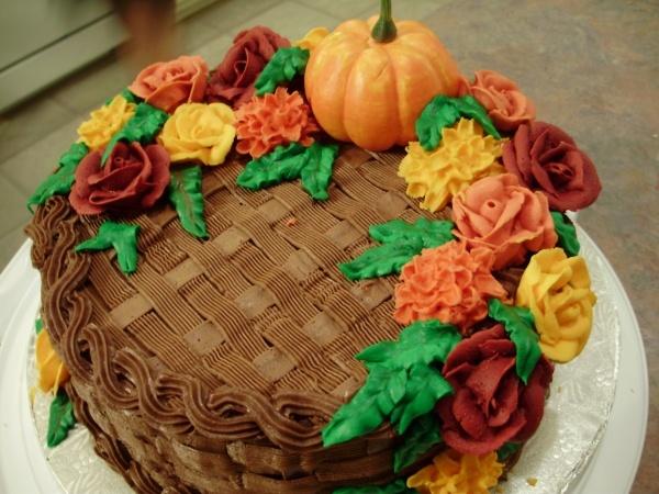 Harvest basket weave cake