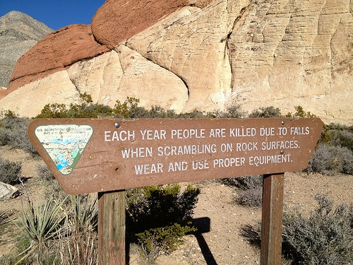 Red Rock Canyon     Scrambling on Rocks Danger Warning