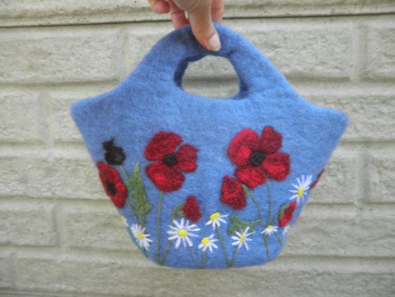 felted bag with poppies storage bucket plant pot holder